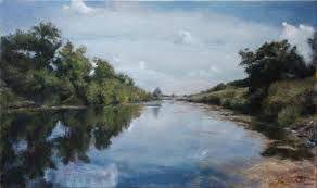 fine art down by the river original oil painting on canvas by artist darko