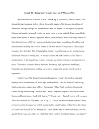 sample five paragraph thematic essay on of mice and men before