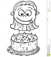 Cartoon Illustration Of Girl Looking At Birthday Cake Stock Vector
