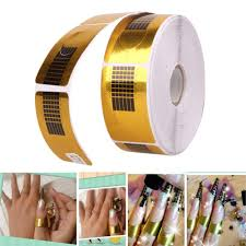500pcs self adhesive nail form stickers gold nail guide sticker tape tape has a self adhesive backing and will stick to a dried polished nail