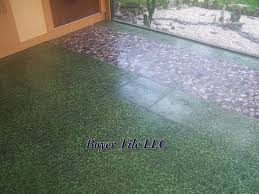 ceramic tile outdoors using large format tile on a patio