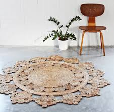 round natural fiber rug hand woven doily crochet round hemp rug hand crafted by individual artisans round natural fiber rug