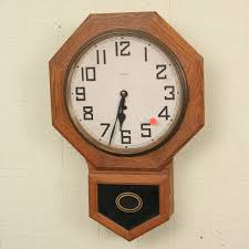 c1900 octagon schoolhouse wall clock oak water