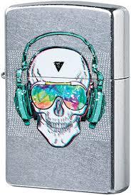 29855 <b>Зажигалка Zippo Skull Headphone</b> Design, Street Chrome