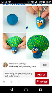 Seashell Peacock Craft for Kids using Playdough - Crafty Morning