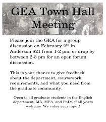 temple gea graduate english association at temple university gea town hall flier
