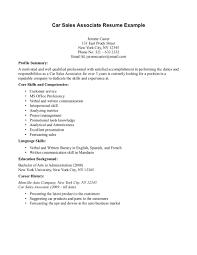 Automotive Sales Associate Resume Sample Resume Cover Letter Format
