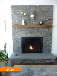adding stone veneer to brick fireplace decor grey over existing stacked