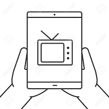 watching tv clipart black and white. hands holding tablet computer linear icon. watching tv online. thin line illustration. tv clipart black and white