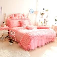girl ruffle bedding luxury pink lace set queen king cotton princess wed home crib girl ruffle bedding