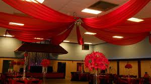 Red chiffon Ceiling Drape