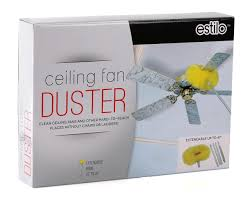 ceiling fan duster with extension pole. cleaning my ceiling fans has always been a hassle until i tried the estilo fan duster with extension pole. pole 5