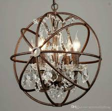 rh industrial lighting restoration hardware vintage crystal chandelier pendant lamp foucault iron orb chandelier rustic iron gyro loft light modern crystals