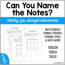 Can You Name The Notes Finger Chart Activity For Violin Viola And Cello