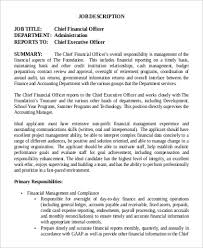 Bank Manager Job Description Chief Financial Officer Job Description Sample 9 Examples