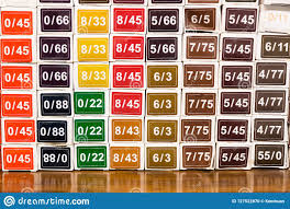 Color Chart Of Chemical Hair Dye Color At Salon Stock Photo