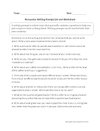 writing prompts worksheets persuasive writing prompts worksheets persuasive writing prompt list and worksheet