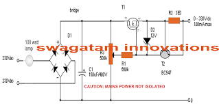 v variable voltage current transformerless power supply it can kill anybody if touched anywhere on the circuit in powered condition observe appropriate precautions to avoid any mishap