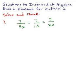 elementary algebra practice exam solutions help video in high  intermediate algebra review part 3 preview image