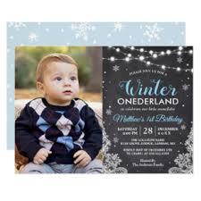 Snowflake Birthday Invitations Winter Onederland Baby Boy First Birthday Photo Invitation