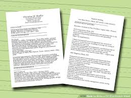 how to write a cv or curriculum vitae sample cv image titled write a cv curriculum vitae step 1