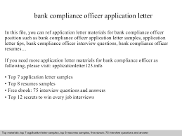 Compliance Officer Cover Letter Bank Compliance Officer Application Letter
