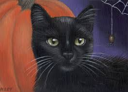 black cat painting by thelittlespring