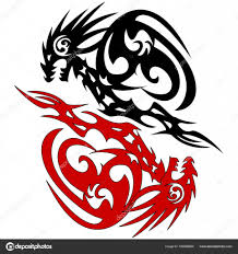 два дракона силуэт вектор эскиз татуировки векторное изображение