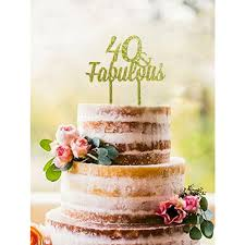 Amazoncom Shinybeauty Birthday Cake Topper 40thgold 40th Cake