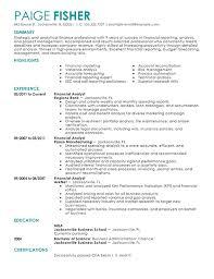 Sample Financial Analyst Resume Free Resume Templates 2018