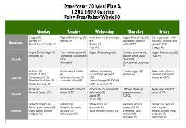 transform 20 meal plan dairy free paleo whole30