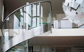 spiral staircase stainless steel frame glass steps without risers