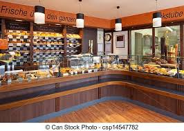 Modern Bakery Interior With Glass Display Counters Full Of