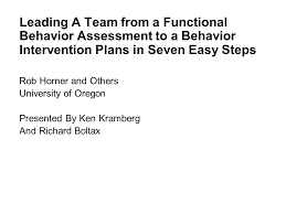 Leading A Team From A Functional Behavior Assessment To A Behavior ...