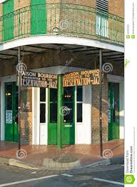 Maison Bourbon Jazz Club With Green Doors In Morning Light Of - Exterior doors new orleans