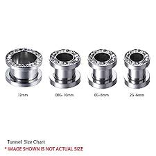 ear gauging chart actual size bodyj4you 3 pairs screw fit ear gauge hollow tunnels 12mm 1 2 inch