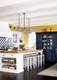 Blue yellow & white kitchen- love!! except instead of painting exposed  beams on