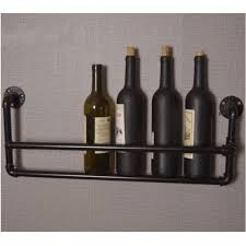 5 standard bottle wine rack industrial water iron pipe holder storage wall mount