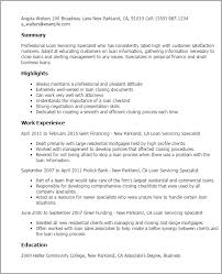 Resume Specialists Loan Servicing Specialist Resume Template Best Design