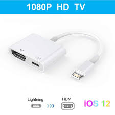 Lighting Digital Av Cable Lighting To Hdmi Adapter Lighting Digital Av Adapter With Lighting Charging Port For Hd Tv Monitor Projector 1080p For Iphone Ipad And Ipod Ios 11