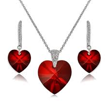 details about sterling silver red heart necklace earrings set created with swarovski crystal