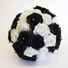 black & white rose wedding bouquet foam flower wedding bouquets Wedding Bouquets Black And White black & white rose wedding bouquet black and white silk wedding bouquets