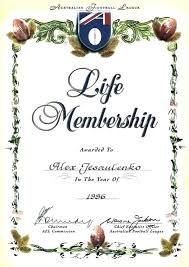Football Certificate Template Fascinating Life Membership Certificate Template Football Certificates Club Cl