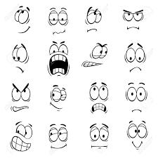表情と感情人間漫画目かわいい笑顔の絵文字のアイコンベクトル絵文字の要素は笑顔幸せ驚いて悲し