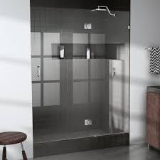 frameless glass hinged shower door in chrome