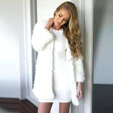 faux fur coat white