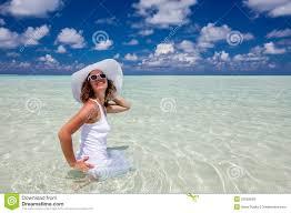 Caucasian Woman Rests At Beautiful Seashore Stock Photo Image Of