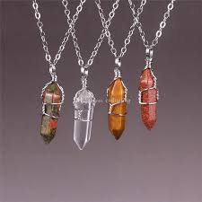 whole wire wrapped quartz necklace raw quartz healing crystal point pendant necklace unakite crystal clear tiger s eye gold sand stone beads wolf