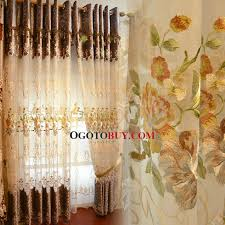 embroidered beautiful fl pattern luxury sheer curtain loading zoom