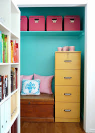 office in a closet. 1. Organization Space: Maybe All You Really Need Is The Space To Get Your Papers Organized. Put A File Cabinet And Some Pretty Boxes Into Closet Give Office In S